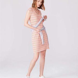 Lou & Gray Orange Striped Cap Sleeve Tee Dress